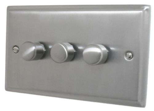 G&H DSN13 Deco Plate Satin Nickel 3 Gang 1 or 2 Way 40-400W Dimmer Switch